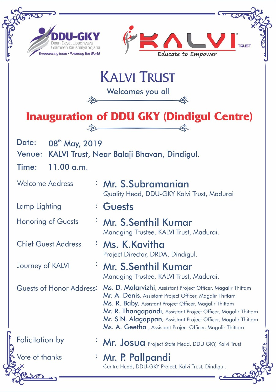 Inaguration of DDU-GKY Dindugal Center